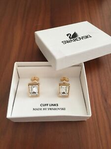 RARE BNIB Swarovski Classic Vintage Cuff Links $55 Retail - Clear Crystal