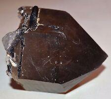 Large Amazing Smoky Quartz Terminated Crystal Point With Tourmaline - Brazil