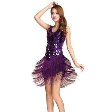 AU Ladies Sequins Tassel Latin dress Rumba Square Dance V Neck Strap Party Dress
