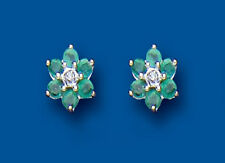 Emerald Earrings Diamond Stud Sterling Silver Studs Natural Emerald and diamond