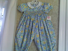 NWT Petit Ami floral smocked long romper size 12 mos for baby or reborn doll