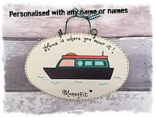 Green PERSONALISED Name Canal Narrow Boat Sign Home is where you moor it plaque