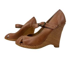 GEORGE Ladies Womens Shoes Size UK 3 EU 36 Brown Wedge Heels