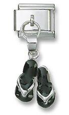 Sandals Italian Charm Link Dangle Black Enamel Stainless Steel 9 mm Bracelet