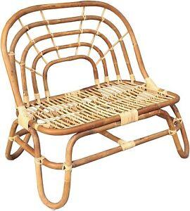 Childrens Handmade Rattan Bench Chair Nursery Bedroom Furniture