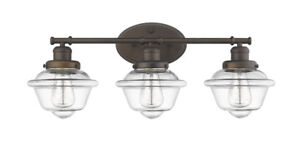 """3-Light Bronze Over Mirror Bathroom Light Fixture 26"""" W School House Vanity New!"""