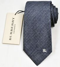 NEW Burberry Indigo Color Mans Silk/Cotton Tie 100% Authentic Italy Made 032510