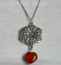 Antique Silver Plt Flower & Carnelian Agate Heart Pendant Chain Necklace Ladies