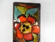 "70´s design RUSCHA Keramik Wandbild wall plaque "" Flowers "" 51 cm x 10 cm 12131"