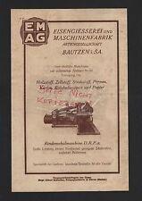 BAUTZEN, Werbung 1929 Eisengiesserei-Maschinen-Fabrik AG Zellstoff Pappen Papier
