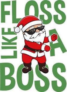 Floss Like a Boss Funny Flossing Santa Christmas Xmas Womens T-Shirt