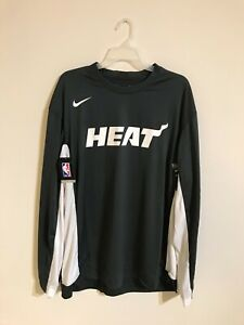 Nike NBA Authentic Miami Heat Long Sleeve Shirt AV0907-060 Men's Size Large New