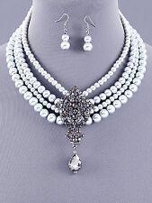 7b Bridal Elegance Grey Gray Pearl Necklace Black Diamond Rhinestone Rhombus Set