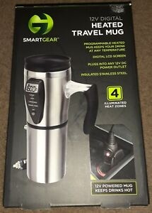 Smart Gear 12V Digital Heated Travel Mug- Coffee Cup Tumbler. New. Open box