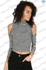 T-shirt, maglie e camicie da donna neri in poliestere taglia M