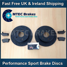 Fiat Croma 1.8 1.9 2.2 02-07 Rear Brake Discs Pads MTEC Black Drilled Grooved