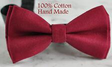 Men Women 100% Cotton Matte RUMBA RED Solid Craft Bow Tie Bowtie Wedding Party