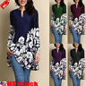 Plus Size Women's Loose Long Sleeve V Neck Casual Blouse Shirt Tunic Tops Blouse