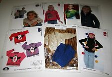 LOT of 8 Knitting yarn Childrens patterns CARDIGAN Cat Pullover PENGUIN SWEATER