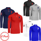 Mens 2 Pack US POLO ASSN Designer Long Sleeved Polo Shirt Big Pony Lauren Top