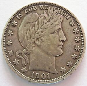 1901 O UNITED STATES SILVER BARBER HALF DOLLAR COIN EXTREMELY FINE CONDITION