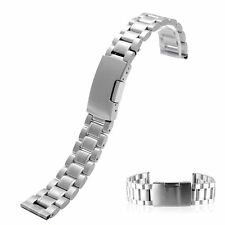 18/20/22/24Straight End Men Solid Link Stainless Steel Metal Watch Band Bracelet