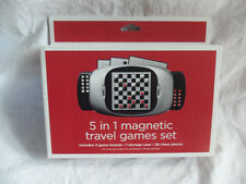 5 in 1 Magnetic Travel Games Set Chess Checkers Solitaire TicTacToe 9 Men Morris