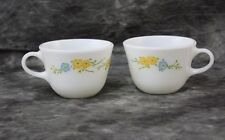 2 Pyrex Vintage coffee cups white with blue and yellow flowers #24