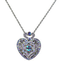 Kirks Folly I Remember You By Heart Locket Necklace (Silvertone/Purple)