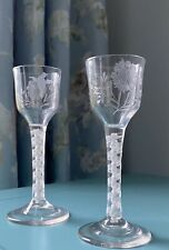 More details for stunning pair of air twist antique georgain wine glasses birds and flowers etch