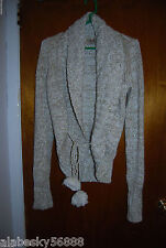 Juicy Couture Knitted Drawstring Pom Pom Cardigan Sweater M