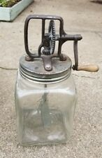 Antique 4 Qt. Square Glass Butter Churn with Metal Paddles