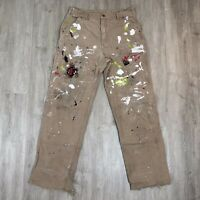 Vintage Carhartt USA MADE Distressed Brown Duck Canvas Work Pants Size 36 X 36