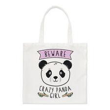 Beware Crazy Panda Girl Regular Tote Bag Funny Animal Shoulder Shopper