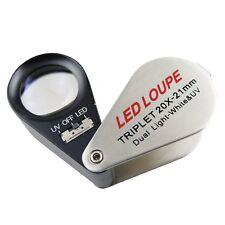 Jewelry Jeweller Triplet Loupe 20x Magnification White LED & UV Light 21mm Lens