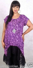 purples black top blouse with lace extremely very pretty PLUS 2X 3X 4X zc704