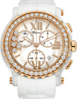 Chopard Happy Sport Chrono White Ceramic Rose Gold Diamond Ladies Watch 288515