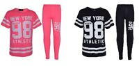 New Girls New York 98 Pink Black Tracksuit Top & Leggings Age 7 8 9 10 11 12 13