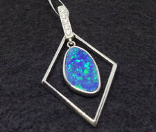 Sterling Silver 925 Genuine Coober Pedy Precious Opal Doublet Pendant