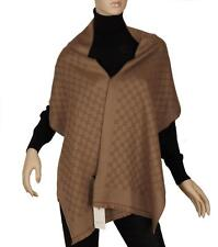 NEW GUCCI CURRENT LUXURY GG JACQUARD LIGHT BROWN WOOL SCARF SHAWL WRAP UNISEX