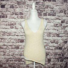 HELMUT LANG Women's Beige Knit Asymmetrical Tank Top Silk Mohair Size Medium