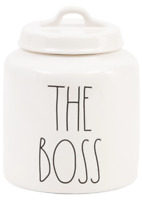 """RAE DUNN """"THE BOSS"""" CANISTER ~Sealing lid for Pet treats (DOG treat Jar) ~ NEW ~"""