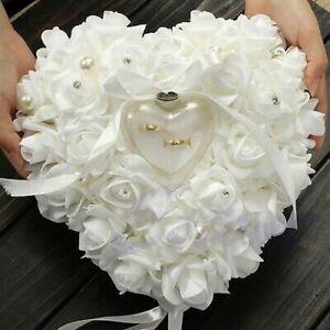 Wedding Anneau Pillow White with Ribbon Pearl Rose Flower Heart Shape Satin