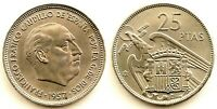Spain-Estado Español - 25 Pesetas 1957*65. Madrid. SC/UNC Niquel 8,5 g.