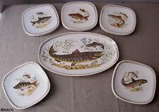 Beau service à poisson ancien en faïence de longchamp vintage