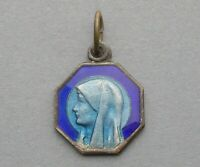 Saint Virgin Mary. Antique Religious Pendant. Blue Enamel. French Medal.