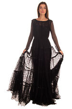 RRP €6005 SAINT LAURENT Lace Flared Gown Size 40 / L Gathered Made in France