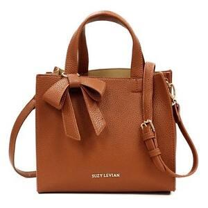 Suzy Levian Pebbled Faux Leather Handbag Bag Satchel with Bow