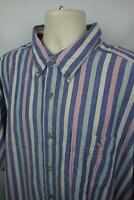 Wrangler Rugged Wear Mens 3XLT Button Down Shirt Pocket Pen Slot SS Tall Striped