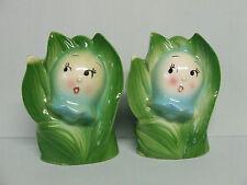 Vintage Anthropomorphic Blue Bells/Flowers Salt & Pepper Shakers (Japan)